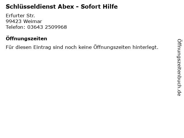 Schlüsseldienst Abex - Sofort Hilfe in Weimar: Adresse und Öffnungszeiten