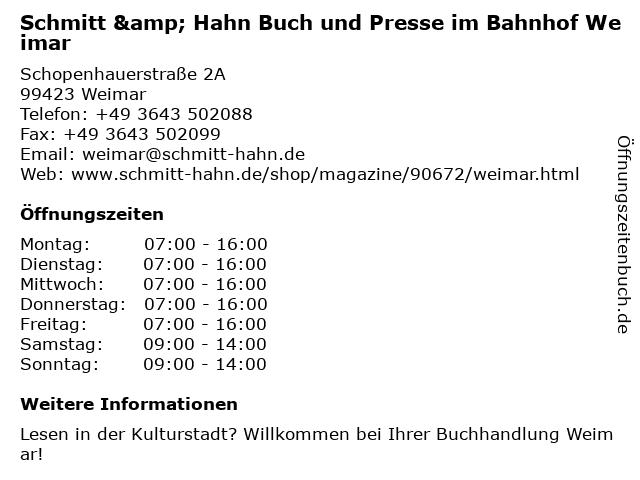 Schmitt & Hahn Buch und Presse im Bahnhof Weimar in Weimar: Adresse und Öffnungszeiten