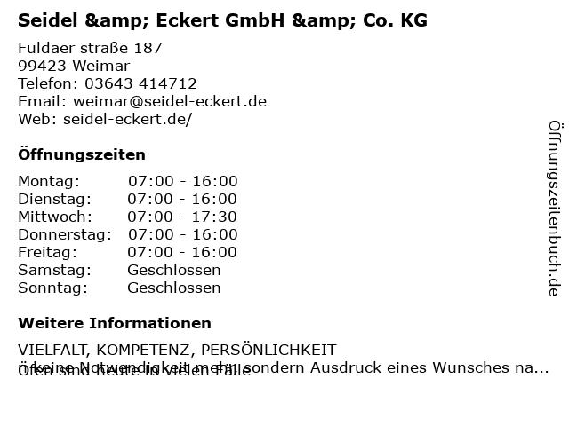 Seidel & Eckert GmbH & Co.KG in Weimar: Adresse und Öffnungszeiten