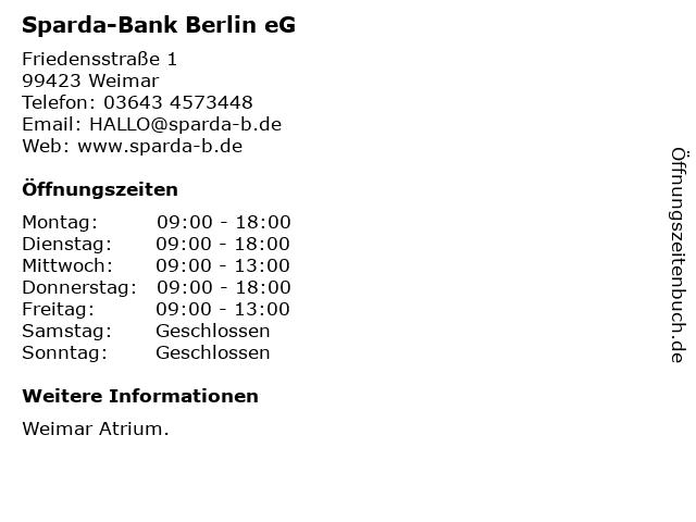 Sparda-Bank Berlin eG in Weimar: Adresse und Öffnungszeiten