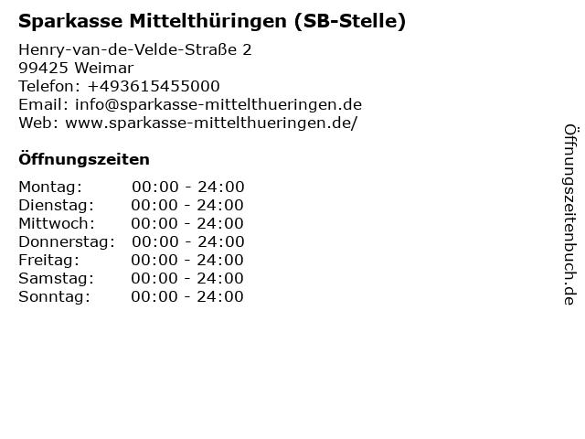 Sparkasse Mittelthüringen - (Geldautomat Hufeland-Klinikum) in Weimar: Adresse und Öffnungszeiten