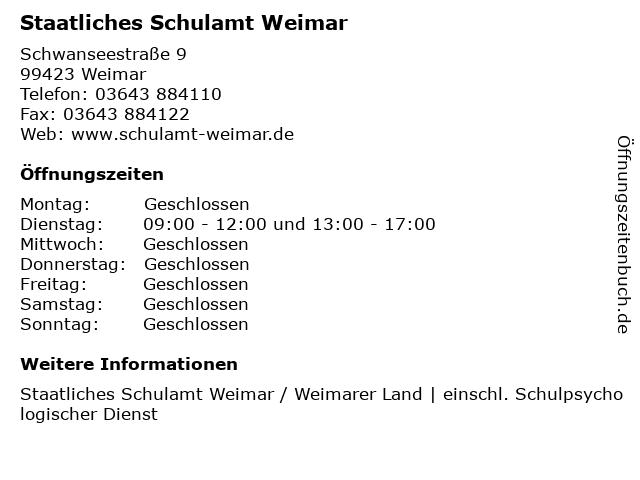 Staatliches Schulamt Weimar in Weimar: Adresse und Öffnungszeiten
