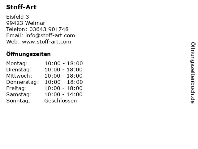 ᐅ öffnungszeiten Stoff Art Eisfeld 3 In Weimar