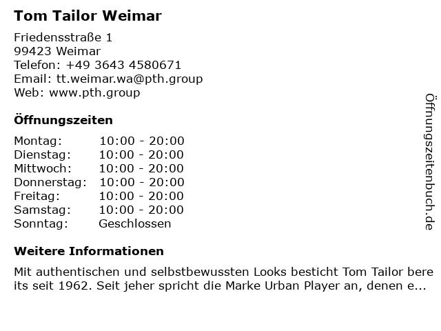 Tom Tailor Weimar in Weimar: Adresse und Öffnungszeiten