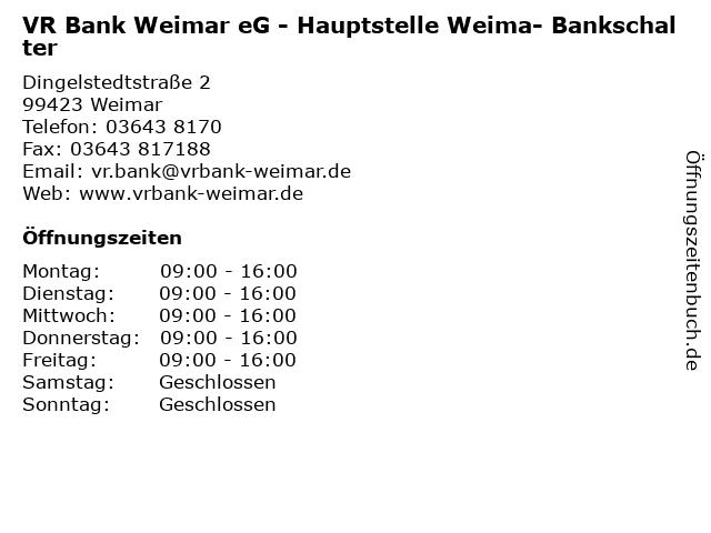 VR Bank Weimar eG - Hauptstelle Weima- Bankschalter in Weimar: Adresse und Öffnungszeiten