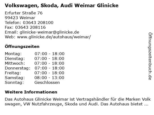 Volkswagen, Skoda, Audi Weimar Glinicke in Weimar: Adresse und Öffnungszeiten