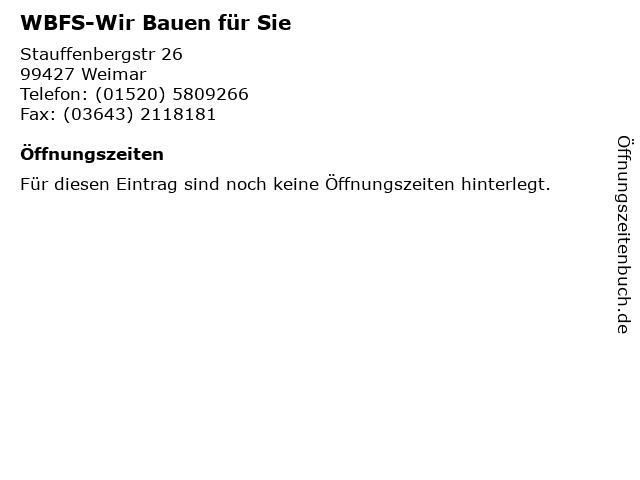 WBFS-Wir Bauen für Sie in Weimar: Adresse und Öffnungszeiten