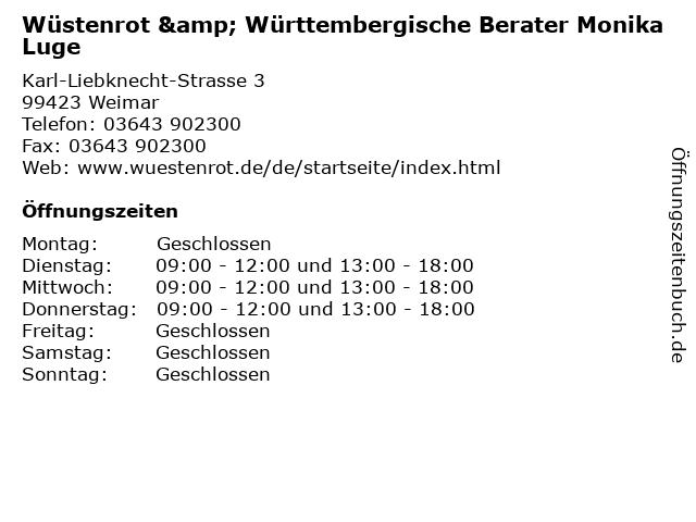 Wüstenrot & Württembergische Berater Monika Luge in Weimar: Adresse und Öffnungszeiten