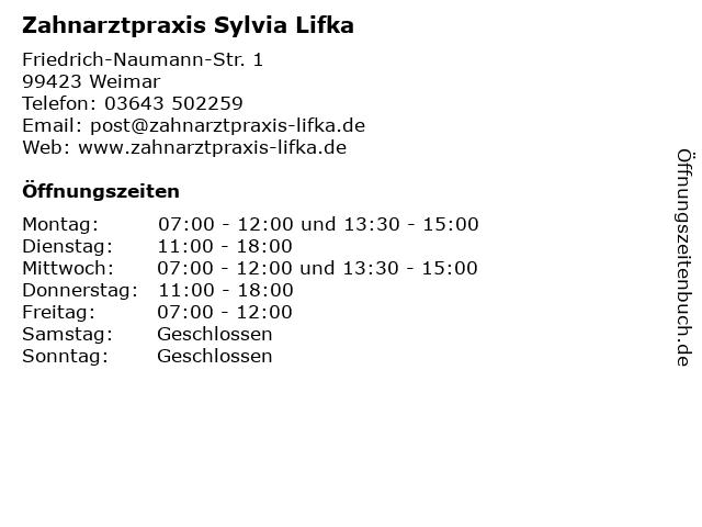 Zahnarztpraxis Sylvia Lifka in Weimar: Adresse und Öffnungszeiten