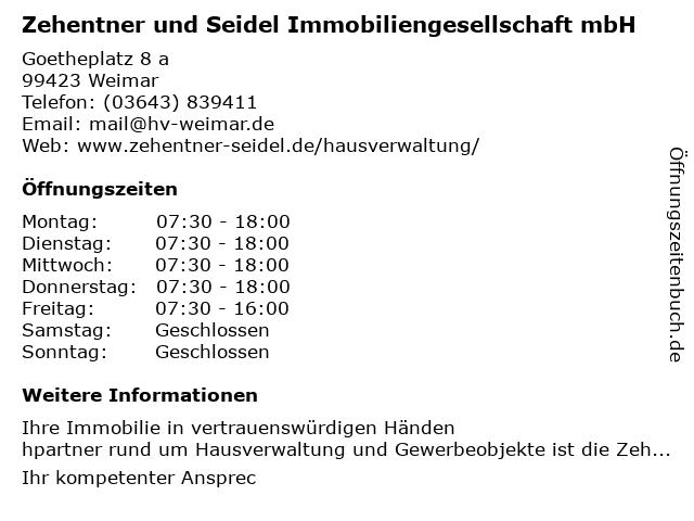 Zehentner und Seidel Immobiliengesellschaft mbH in Weimar: Adresse und Öffnungszeiten