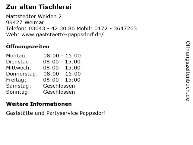 Zur alten Tischlerei in Weimar: Adresse und Öffnungszeiten