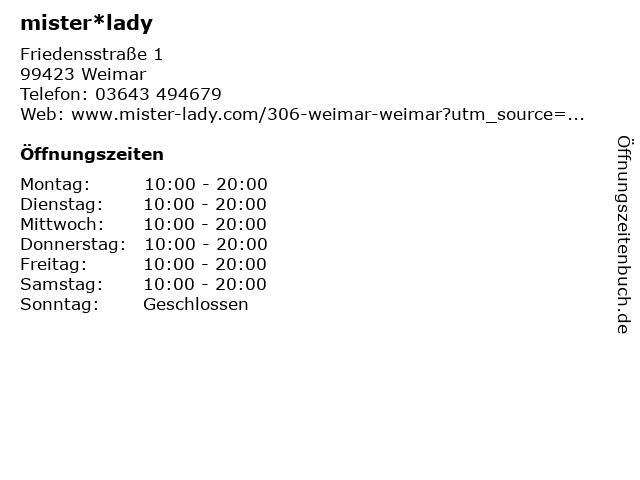 mister*lady GmbH in Weimar: Adresse und Öffnungszeiten