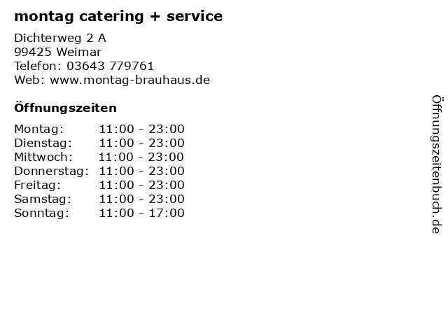 montag catering + service in Weimar: Adresse und Öffnungszeiten