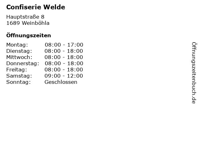 Confiserie Welde in Weinböhla: Adresse und Öffnungszeiten