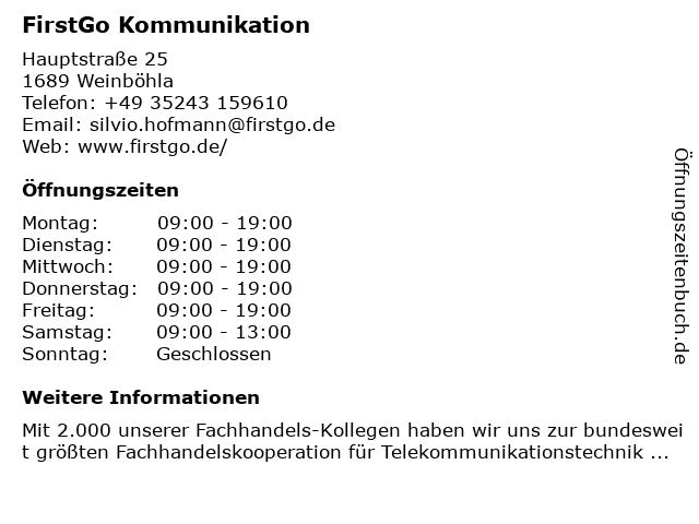 FirstGo Kommunikation in Weinböhla: Adresse und Öffnungszeiten