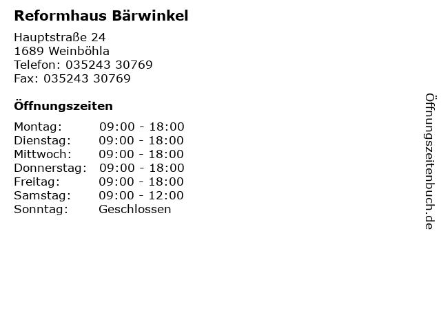 Reformhaus Bärwinkel in Weinböhla: Adresse und Öffnungszeiten