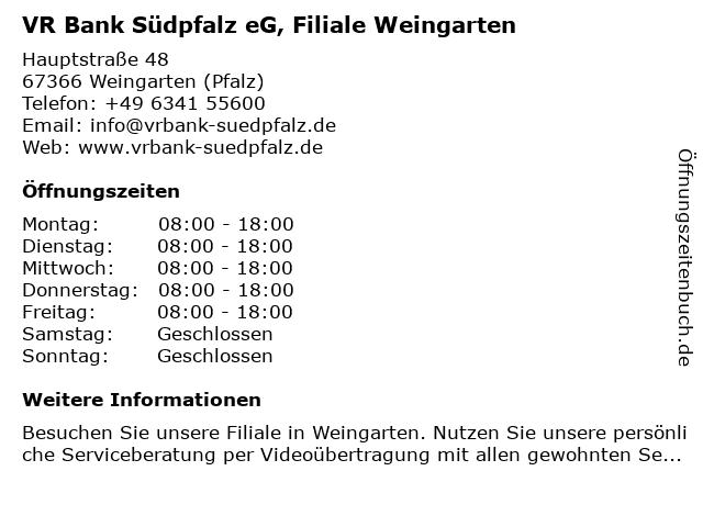 VR Bank Südpfalz eG Filiale Weingarten in Weingarten (Pfalz): Adresse und Öffnungszeiten