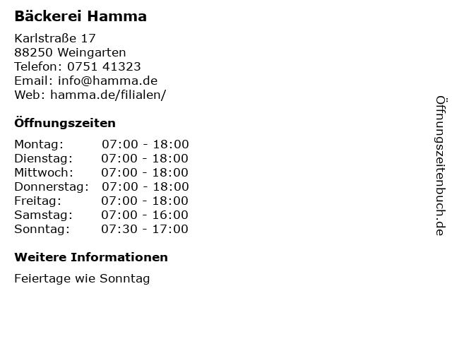 Bäckerei Hamma in Weingarten: Adresse und Öffnungszeiten