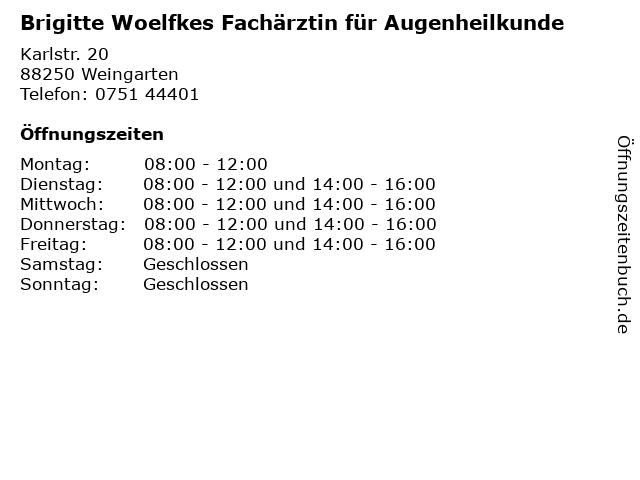 Brigitte Woelfkes Fachärztin für Augenheilkunde in Weingarten: Adresse und Öffnungszeiten