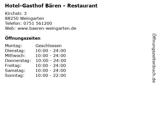 Hotel-Gasthof Bären - Restaurant in Weingarten: Adresse und Öffnungszeiten