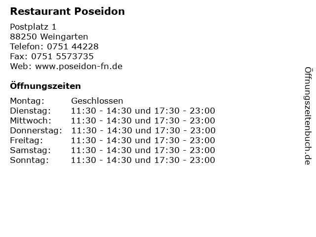 Restaurant Poseidon in Weingarten: Adresse und Öffnungszeiten