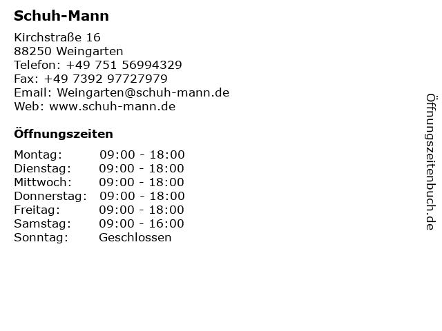 Schuh-Mann in Weingarten: Adresse und Öffnungszeiten
