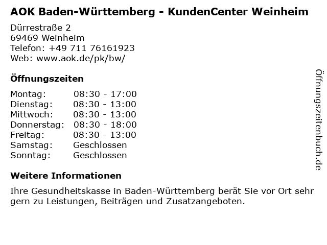 AOK Baden-Württemberg in Weinheim: Adresse und Öffnungszeiten