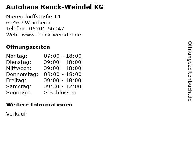 Autohaus Renck-Weindel KG in Weinheim: Adresse und Öffnungszeiten