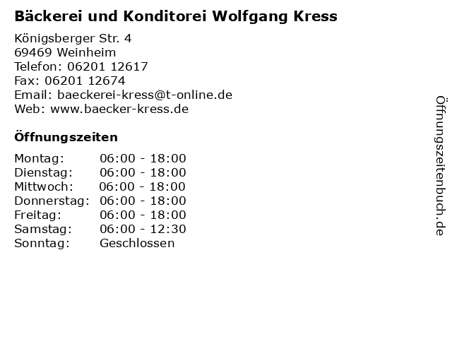 Bäckerei und Konditorei Wolfgang Kress in Weinheim: Adresse und Öffnungszeiten