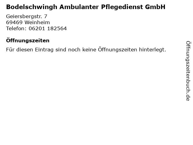 Bodelschwingh Ambulanter Pflegedienst GmbH in Weinheim: Adresse und Öffnungszeiten