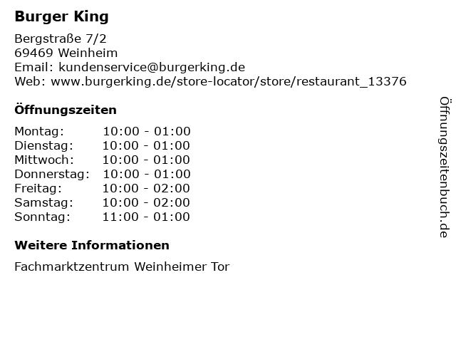 Burger King in Weinheim: Adresse und Öffnungszeiten