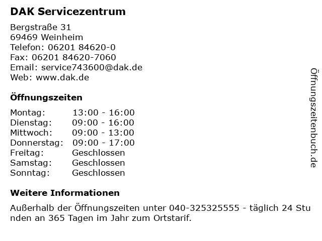 DAK Servicezentrum in Weinheim: Adresse und Öffnungszeiten