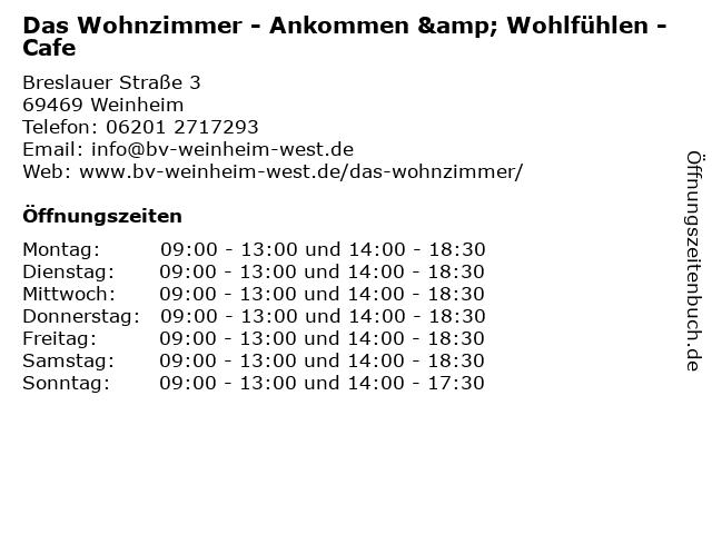 Das Wohnzimmer - Ankommen & Wohlfühlen - Cafe in Weinheim: Adresse und Öffnungszeiten