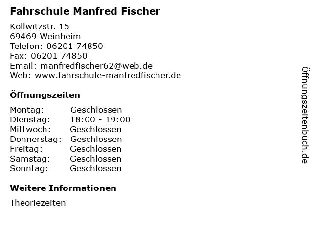 Fahrschule Manfred Fischer in Weinheim: Adresse und Öffnungszeiten