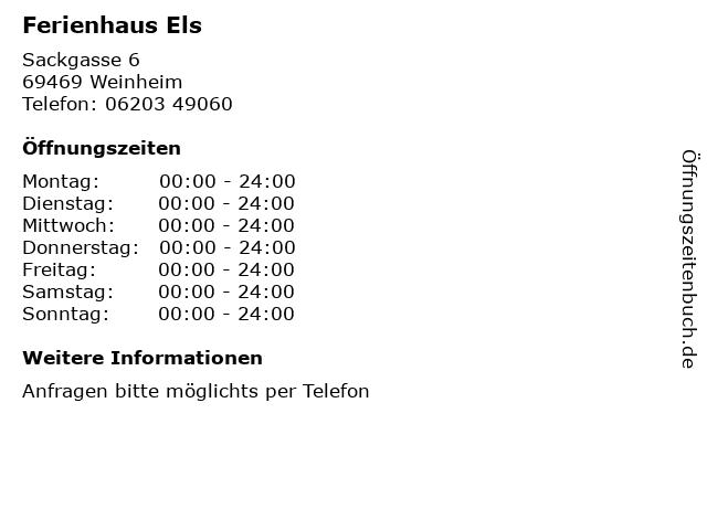 Ferienhaus Els in Weinheim: Adresse und Öffnungszeiten
