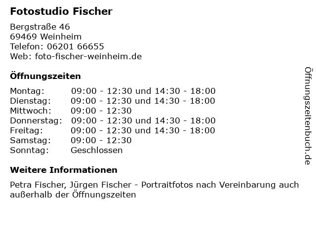 Fotostudio Fischer in Weinheim: Adresse und Öffnungszeiten