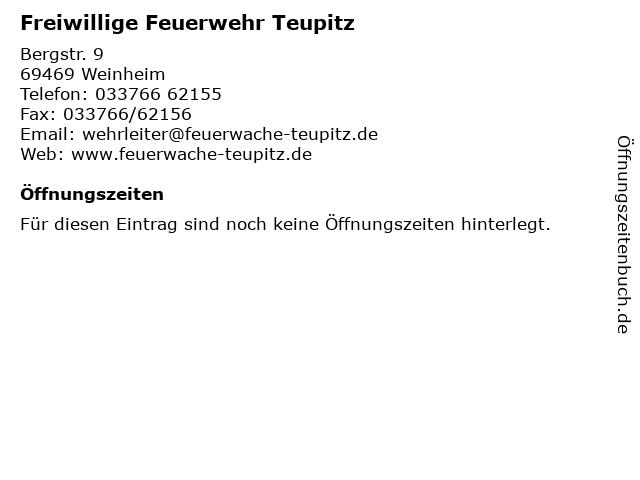 Freiwillige Feuerwehr Teupitz in Weinheim: Adresse und Öffnungszeiten