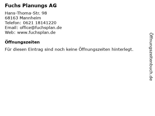 Fuchs Planungs AG in Weinheim: Adresse und Öffnungszeiten