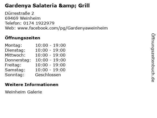 Gardenya Salateria & Grill in Weinheim: Adresse und Öffnungszeiten