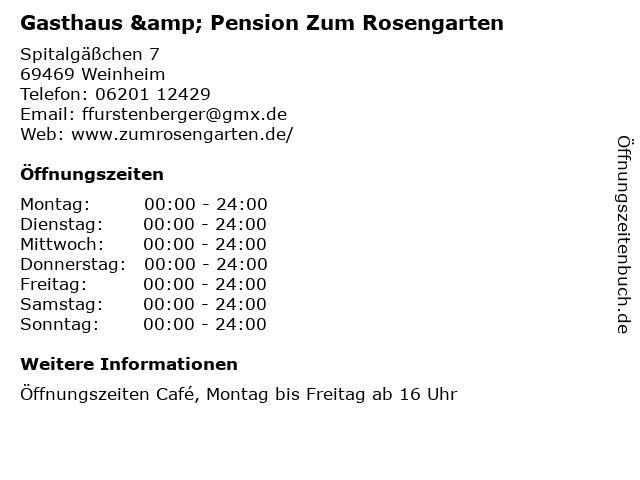 Gasthaus & Pension Zum Rosengarten in Weinheim: Adresse und Öffnungszeiten