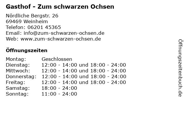 Gasthof - Zum schwarzen Ochsen in Weinheim: Adresse und Öffnungszeiten