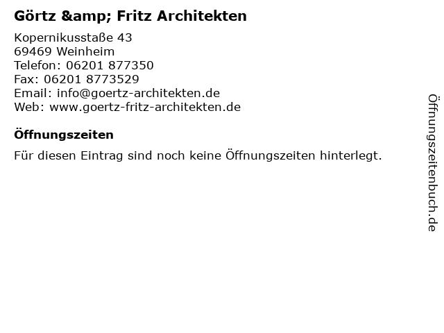 Görtz & Fritz Architekten in Weinheim: Adresse und Öffnungszeiten