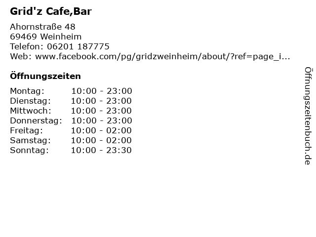 Grid'z Cafe,Bar in Weinheim: Adresse und Öffnungszeiten