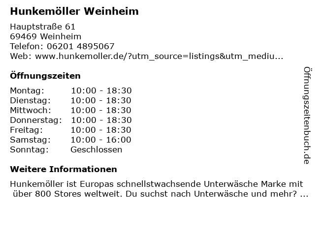 Hunkemöller in Weinheim: Adresse und Öffnungszeiten
