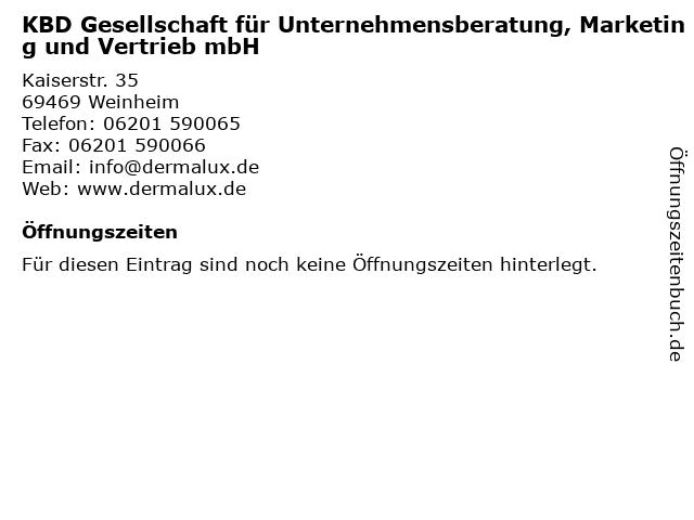 KBD Gesellschaft für Unternehmensberatung, Marketing und Vertrieb mbH in Weinheim: Adresse und Öffnungszeiten
