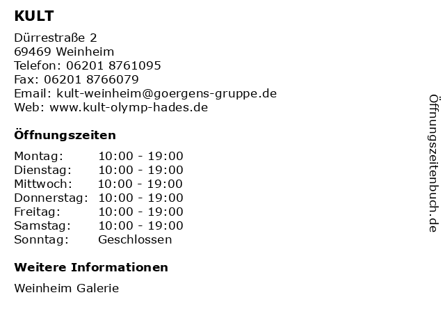 KULT in Weinheim: Adresse und Öffnungszeiten