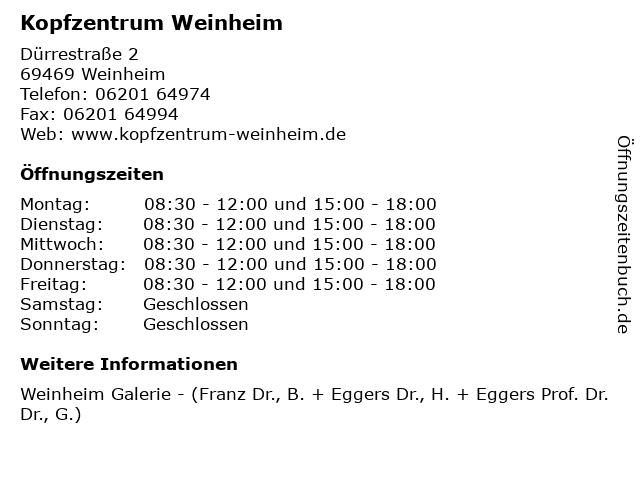 Kopfzentrum Weinheim in Weinheim: Adresse und Öffnungszeiten