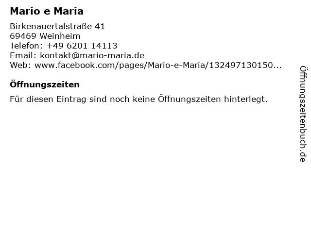 Mario e Maria in Weinheim: Adresse und Öffnungszeiten