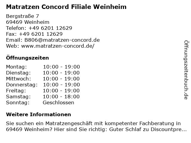 Matratzen Concord GmbH in Weinheim: Adresse und Öffnungszeiten