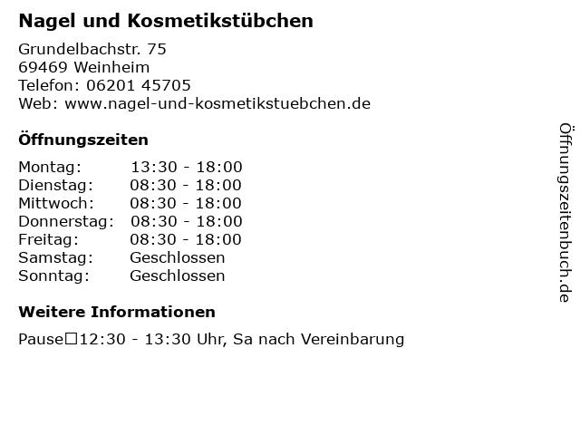 Nagel und Kosmetikstübchen in Weinheim: Adresse und Öffnungszeiten